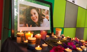 A photograph of Aiia Maasarwe is seen at a vigil held on Friday at LaTrobe University in Melbourne