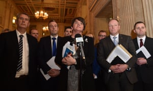 'Contempt for human rights.' Arlene Foster, leader of the Democratic Unionist party, at Stormont on Monday.