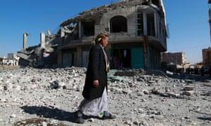The scene of a Saudi-led airstrike in Sanaa, Yemen.