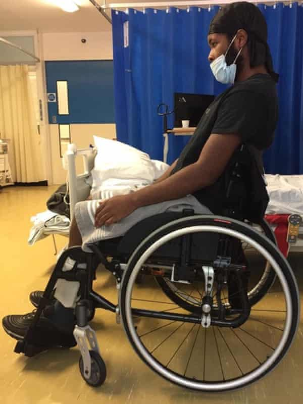 Jordan Walker-Brown, who is paralysed from the waist down.