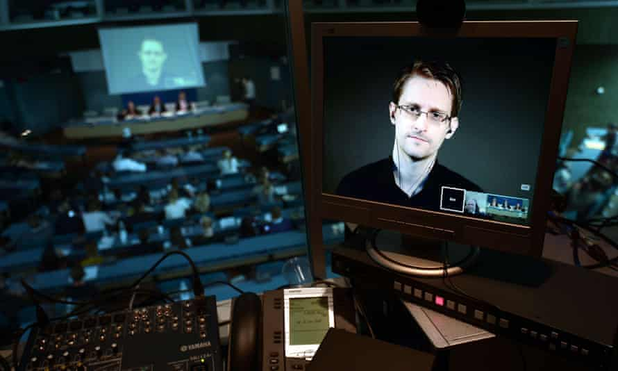 NSA former intelligence contractor Edward Snowden in a live video link from Russia during a parliamentary hearing at the Council of Europe in Strasbourg, June 2015.