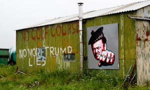 A mural on his barn showing Michael Forbes, who refused to sell his land to Donald Trump for his Menie estate golf course.