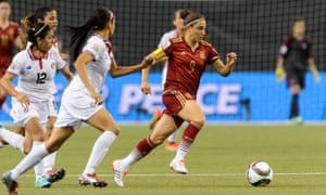 Vero Boquete, in action here for Spain against Costa Rica at the 2015 World Cup, says: 'Because I played football with boys until I was 15, football was almost an individual sport.'