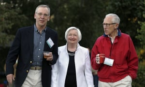 Janet Yellen, center, at the Fed's annual symposium in Jackson Hole, Wyoming.