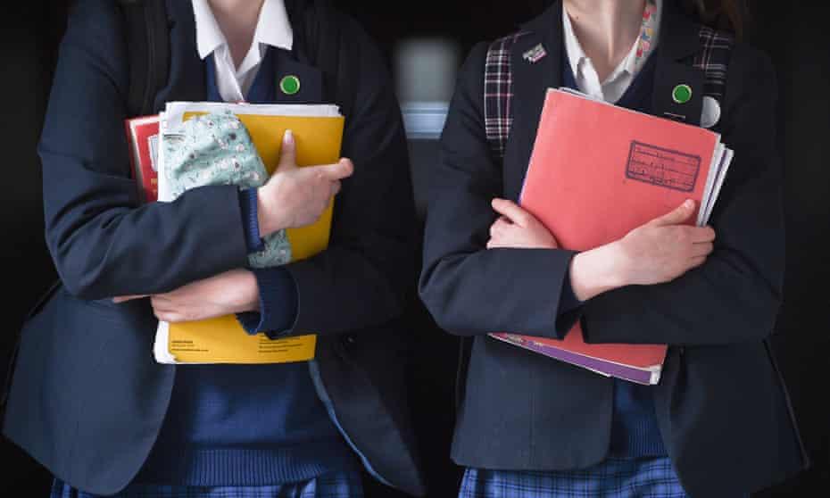 teenage girls in school uniform