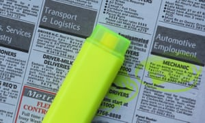 Employment advertisements are highlighted in a newspaper