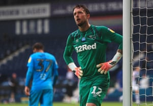 Derby County goalkeeper Ben Hamer reacts after Dara O'Shea doubles the Baggies' lead.