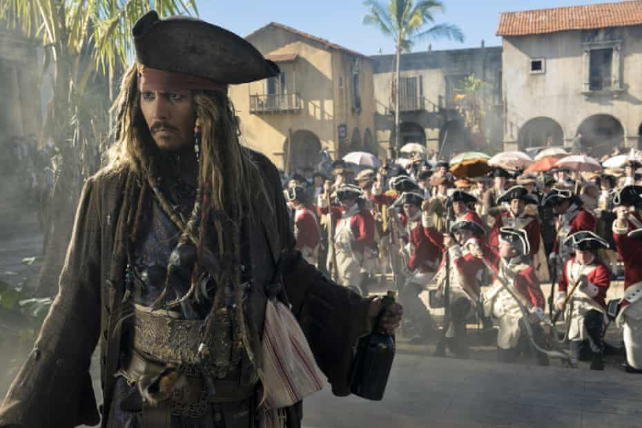 Johnny Depp in Pirates of the Caribbean: Dead Men Tell No Tales.