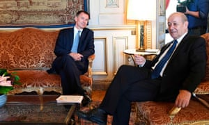 Jeremy Hunt (left) and his French counterpart, Jean-Yves Le Drian, at the foreign ministry in Paris