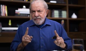 Lula da Silva being interviewed exclusively for the Guardian at his Worker's party's headquarters in São Paulo.