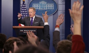 Sean Spicer takes questions from reporters during the daily press briefing at the White House Tuesday.