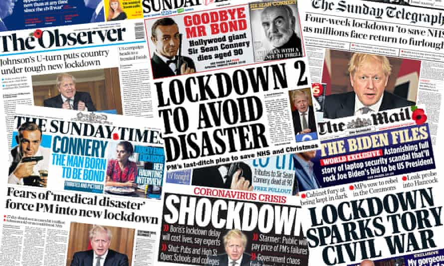 Shockdown What The Sunday Papers Say About England S New Covid 19 Lockdown Uk News The Guardian