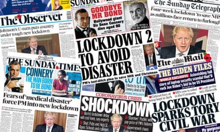 What the UK papers say about England's second Covid lockdown.