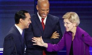 Former housing secretary Julián Castro, Senator Cory Booker and Senator Elizabeth Warren.