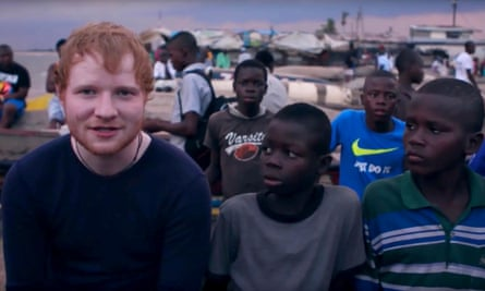 A still from the 2017 Comic Relief film Ed Sheeran Meets a Little Boy who Lives on the Streets, with JD (third from left)