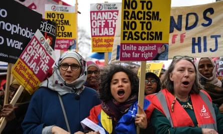 Anti-fascist march in London.