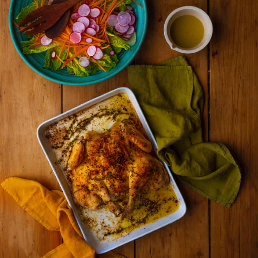 Yasmin Khan's herb and paprika chicken.