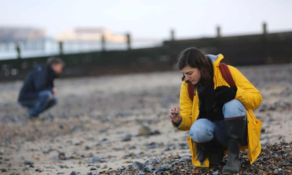 Paula Cocozza and geologist Clive Mitchell on Cromer beach, Norfolk