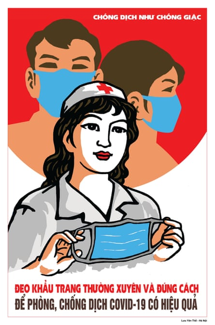 Luu Yen The designed this propaganda poster, which calls on people to wear a mask to stem the spread of Covid-19