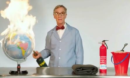 Bill Nye burns a globe
