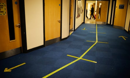 Physical distancing markings on the corridor demonstrate the Covid-19 compliant measures put in place.