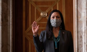 Deb Haaland is sworn in during a hearing on her nomination in Washington DC on 23 February.