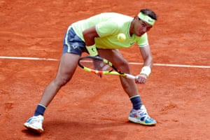 Spain's Rafael Nadal digs out a shot.