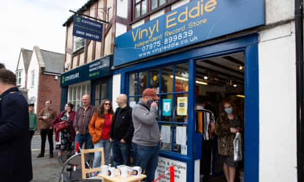 People queuing outside Vinyl Eddie in York on Record Store Day last year.