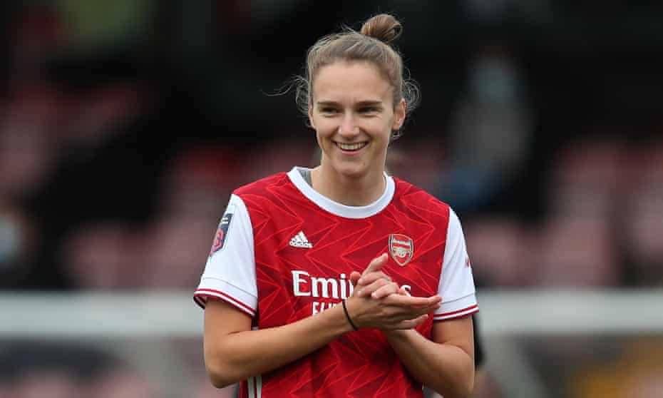 Vivianne Miedema of Arsenal smiles after scoring her hat-trick against Spurs, which took her to a record of 52 WSL league goals.