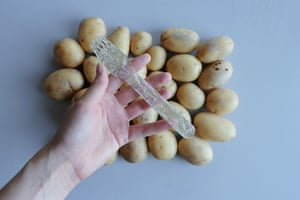 Potato Plastic is a biodegradable material made of potato starch that can be used for cutlery and straws and will decompose just two months after use.