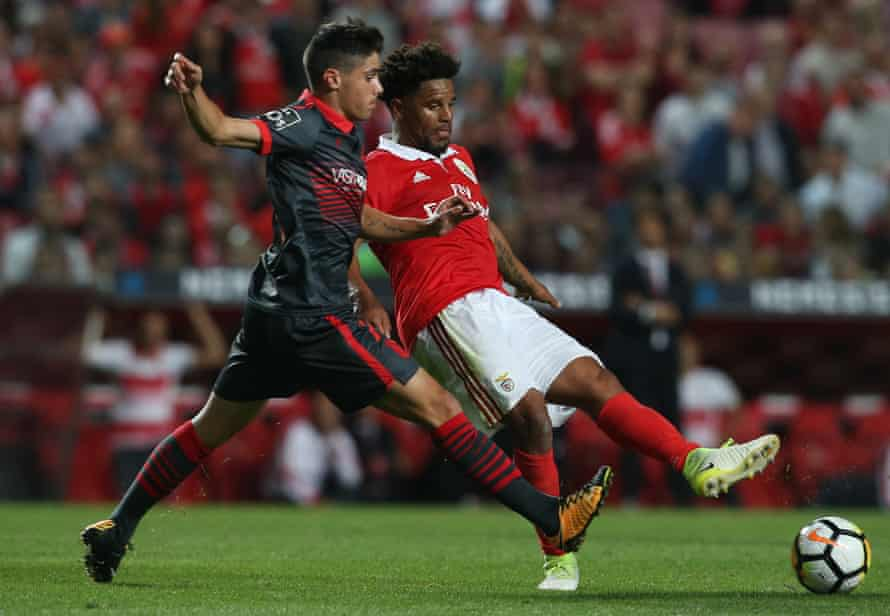 Pedro Neto (left) playing for Braga against Benfica in August 2017.