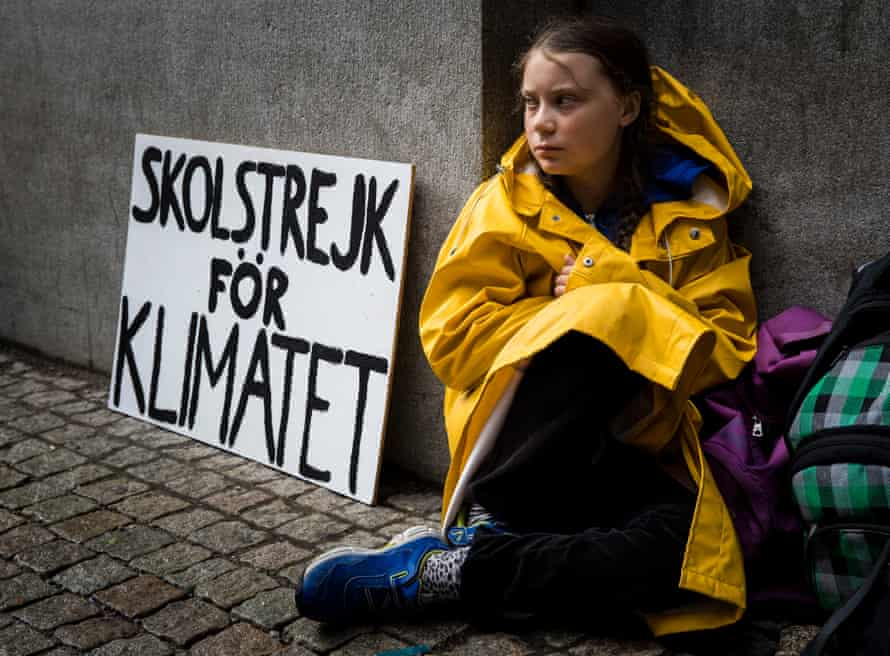 Greta Thunberg strikes outside the Swedish parliament