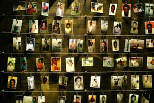 Pictures of the victims of the genocide, donated by survivors, inside the Gisozi memorial in Kigali, Rwanda.