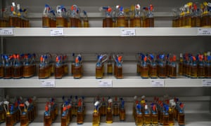 Bottles holding the medium used in vaccine development in a lab at Sinovac Biotech in Beijing, China.