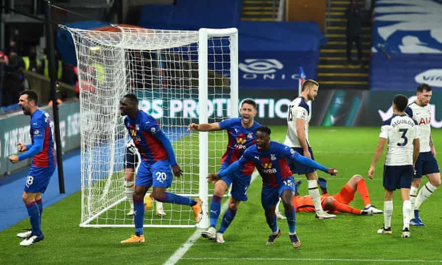 Christian Benteke (second left) celebrates after Jeffrey Schlupp (No 15) equalised for Crystal Palace.