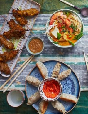 Mandy Yin's satay, laksa and sesame chicken potsticker dumplings: a Malaysian feast.