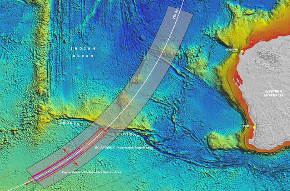 A map showing the widening of Australia's underwater search area along the 'seventh arc'