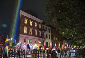 A rainbow light display illuminates the night sky in the West Village near The Stonewall Inn, birthplace of the gay rights movement in New York.