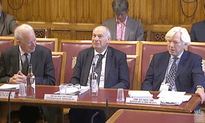 Lord Hope (left) Lord Neuberger (centre) and Sir Konrad Schiemann at the EU justice subcommittee