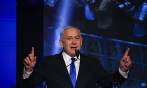 Israeli prime minister Benjamin Netanyahu addressees his supporters at party headquarters after elections in Tel Aviv, Israel.
