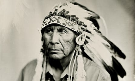 Portrait of Chief Arvol Looking Horse, using the wet plate collodion photographic process. The original plate is curated at the Heard Museum in Arizona.