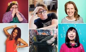 Clockwise from top left - Alison Spittle, Ed Byrne, Heidi Regan, Yuriko Kotani, Jordan Brookes and London Hughes.