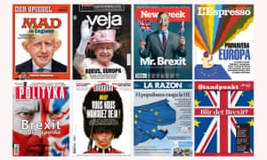 Brexit views from (clockwise from top left) Der Spiegel of Germany, Veja of Brazil, Newsweek of the US, L'Espresso of Italy, Standpunkt of Norway, La Razon of Spain, Libération of France and Polityka of Poland.