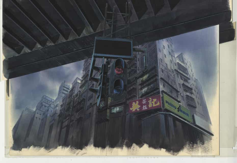 A background watercolour by Hiromasa Ogura from Ghost in the Shell, cut 335