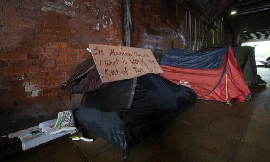 A homeless camp under a railway archway near Manchester's Piccadilly station.