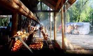 Barbecue time at Camp Ragamuffin in Porto Alegre, Rio Grande do Sul, Brazil
