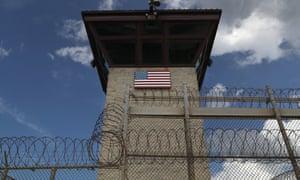 A guard tower at Guantánamo Bay