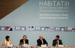 UN secretary general Ban Ki-moon and the mayor of Quito listen to a debate at Habitat III.