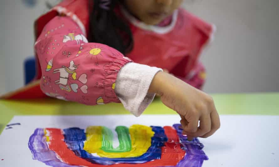 young child painting rainbow