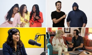 Clockwise from top left: the Receipts team; PJ Vogt and Alex Goldman from Reply All; Jad Abumrad interviewing Dolly Parton; and Anushka Asthana working on the Guardian's Today in Focus